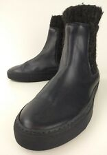 Logan Crossing Womens Boots Ankle EU38 Blue Leather Wool Pull On Chelsea 2429