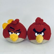 "Angry Birds Plush Red Bird Duo Boy Girl Yellow Bow 5"" Sound Works"