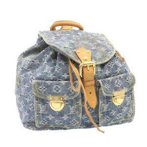 LOUIS VUITTON Monogram Denim Sac a Dos GM Backpack Blue M95056 LV Auth 23405