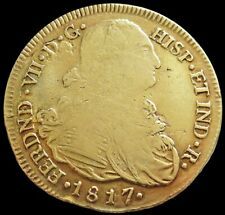 1817 P FM GOLD COLOMBIA 8 ESCUDOS FERDINAND VII COIN POPAYAN MINT