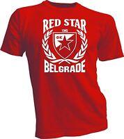 Red Star Belgrade Serbia Football Soccer T Shirt UEFA red 100% cotton handmade