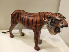 "Vintage Large Leather Tiger Figure 16"" Long Animal Authentics BK Products"