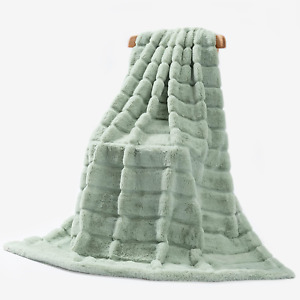"""Cozy Bliss Luxury Super Soft Striped Faux Fur Throw Blanket for Couch, Size, 50"""""""