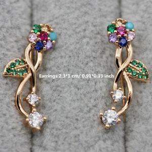 18K White/Gold Filled - Leaf Star Shape Hollow Gemstone U-Desing Studs Earrings