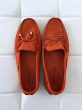 NEW! SAKS FIFTH AVENUE  Size 11 Moccasin Orange Suede Slip On Shoes Flat Women's