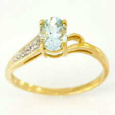 Wedding Solitaire with Accents Natural Aquamarine Fine Rings