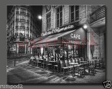 Paris Poster/Photo/French Print/16x20 inch/Paris cafe at night/B&W