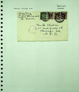 BURMA 1940 KG V VI 4v ON WWII CENSORED COVER FROM WETLER TO USA