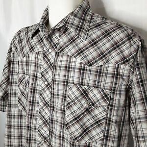 Wrangler Western 2XL Pearl Snap Brown Plaid Short Sleeve Cowboy Rockabilly Shirt
