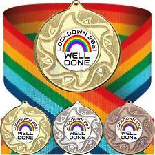 Personalised Lockdown 2021 Well Done Medal & Rainbow Ribbon Metal 50mm Trophy