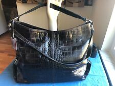 Furla Snakeprint Black Embossed Leather Shoulder Bag /Purse /Shopper /Tote BLACK