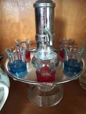 Vintage Barware Dispenser & 6 Shot Glasses Original Stainless Steel & Glass