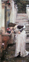 """Oil painting J. W. Waterhouse - Nice young girl smell the flowers the Shrine 36"""""""