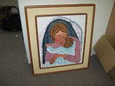 "Vintage Enamel on Copper Painting Judaica Signed Tamar Lynn 9 Plaques 25"" x 28"""