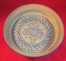 "9"" Salt Glazed Pottery Dish With Unique Center Claddagh Design - Stunning!"