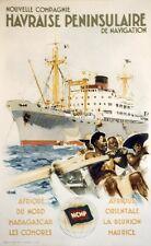 """""""Nlle Cie HAVRAISE de NAVIGATION"""" Affiche originale entoilée  Litho BRENET 1950"""