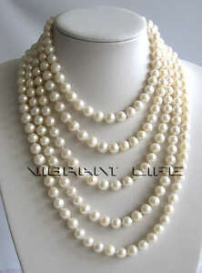 """100"""" 8-10mm White Freshwater Pearl Necklace Strand Jewelry UE"""