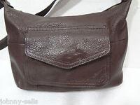 Fossil Brown Pebbled Leather Shoulder Bag Handbag Purse