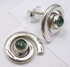 "High End  APATITE Jewel, 925 Silver SPIRAL STUDS POST Earrings 0.6"" 4.1 Grams"
