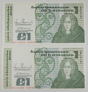 2X Ireland Republic 1988 1 Pound Note Pick #70d Crisp AU Consecutive Numbers