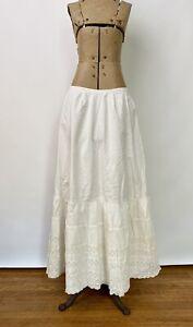 Antique White Cotton Petticoat,1850s 1860s Civil War Era Full Double Layer Large