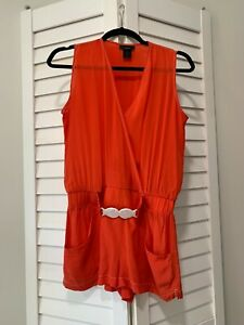 Marc Jacobs Swimwear Coral Belted Silk Romper Resort Cover Up SZ XS