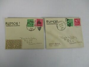 2 1945 WORLD WAR II RUMOR! w NEWSPAPER CLIPPING w FALSE STORY 1 & 2 CENT STAMPS