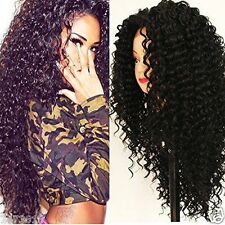 Women's Gift Heat Resistant Synthetic Lace Front Kinky Curly Long Black Wig 24''
