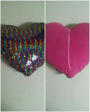 Rainbow Silver Sparkley Heart Pillow Sequin Throw Sofa Accent