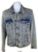 """Joe's Jeans Men's Distressed """"Ted"""" Wash Blue Denim Button Front Jacket Sz XL"""