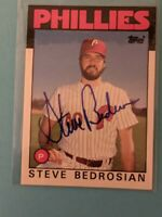 1986 Topps Traded STEVE BEDROSIAN #7T Signed Auto AUTOGRAPH AUTO Card Phillies