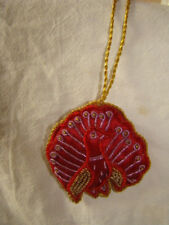 RED AND GOLD PEACOCK  WALL HANGING, CHRISTMAS TREE DECORATION HANDMADE IN INDIA
