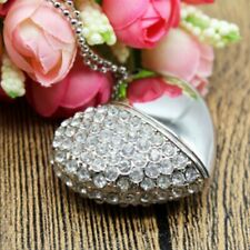 USB Flash Drive 4GB Heart Silver with Crystals Pen Drive usb Pendrive Love UK