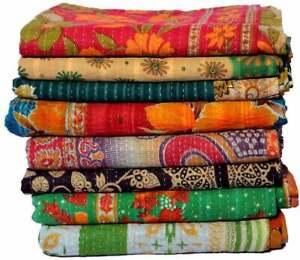 5  Pcs. Wholesale Lot Kantha Quilt Floral Vintage Blanket Cotton Reversible