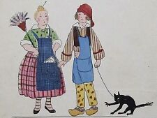 Travestis Mère Michel et Père Lustucru Maggy Monier  Rare pochoir Art-Déco 1925