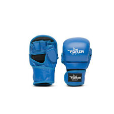Forza Genuine Leather Closed Mma Gloves Fight Kickboxing Punch - Blue / Black