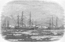 RIGA. HMS Amphion & Cruiser capturing; Russian ships, antique print, 1854