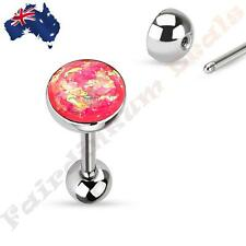 316L Surgical Steel Tongue Ring Barbell With Pink Sparkle Opal