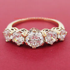 Genuine Solid 9k Rose Gold Engagement Wedding Anniversary Ring Simulated Diamond