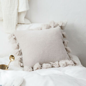 Fringe Tassel Solid Color Knitted Cushion Cover Sofa Chair Throw Pillow Case