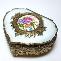 Vintage Farrington Ornate Heart Trinket Jewelry Box Japan Ornate Flowers Footed