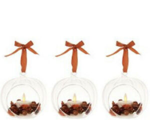 Luminara 3 Glass Ornaments with Flameless Tealight Candle W/ Remote - Harvest