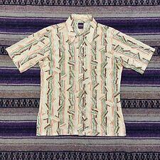 New listing Vtg Geometric Hawaiian Shirt Striped Aloha Camp Mens Medium 70s 80s Funky Top