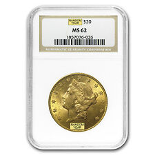 $20 Liberty Double Eagle Gold Coin - Random Year - MS-62 NGC - SKU #120