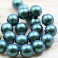 25pcs  8mm METALLIC POLYCHROME DRUK (SMOOTH ROUND) CZECH GLASS  BEADS