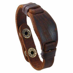 Men Women Vintage Hexagon Brown Genuine Leather Wristband Bracelet Handmade Gift