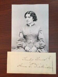 ANNA E. DICKINSON SIGNED SLIP, ORATOR, ABOLITIONIST AND WOMEN'S RIGHTS, LINCOLN