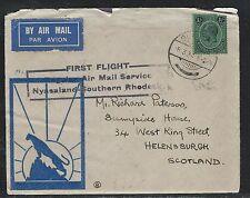 NYASALAND  (PP2708B) KGV 1/-  FIRST FLIGHT NY-SOUTH RHODESIA TO ENGLAND