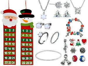 Christmas Advent Calendar 24 Jewellery Charms Made With Crystals From Swarovski