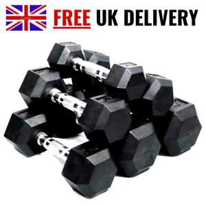Hex Dumbbells 2.5-30kg Weights Set Home Gym Cast Iron Rubber Encased Hexagonal